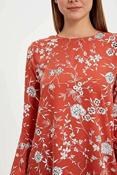 DeFacto Çiçekli Uzun Kollu Tunik Kırmızı